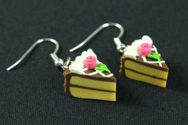 Slice Of Cake Earrings Cake Cake Piece Of Cake Miniblings Chocolate Brown – Bild 1