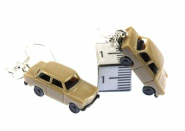 Trabi Trabant GDR East Germany DDR Germany German Car Cult Retro Vintage Car Earrings Miniblings Model 1 160 Beige – Bild 2