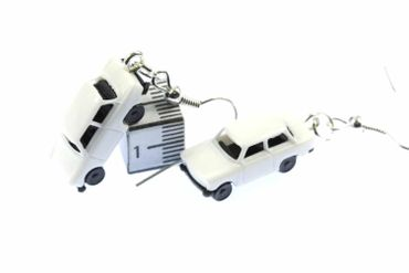 Trabi Trabant GDR East Germany DDR Germany German Car Cult Retro Vintage Car Earrings Miniblings Model 1 160 White – Bild 2