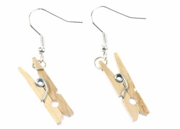 Clothespin Clip Earrings Miniblings Washing Laundry Timber – Bild 2