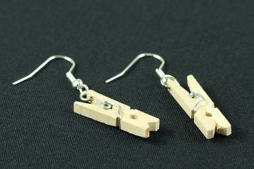 Clothespin Clip Earrings Miniblings Washing Laundry Timber – Bild 1