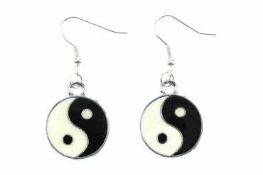 Yin und Yang Ohrringe Ying & Yang Ohrhänger emailliert Miniblings schwz weiß – Bild 1