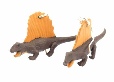 Dinosaur Dimetrodon Earrings Dino Miniblings Rubber Carapace Orange Brown – Bild 1