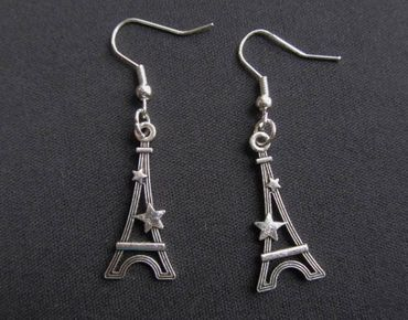 Eiffel Tower Earrings Miniblings Paris Tower France Eiffel Tower Star Silver – Bild 1