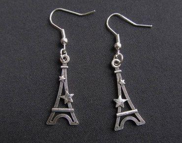 Eiffelturm Ohrringe Miniblings Paris Turm Frankreich Eifelturm Stern silber – Bild 1