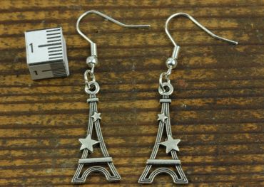 Eiffel Tower Earrings Miniblings Paris Tower France Eiffel Tower Star Silver – Bild 3