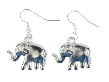 Elephant Earrings Miniblings Zoo Elephant Silver 2cm – Bild 1