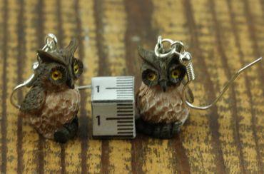 Owl Earrings Owl Earrings Miniblings Owl Owl Bird Yellow Eyes Brown Details – Bild 2