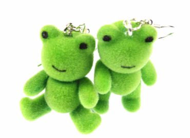 Frog Earrings Frogs Miniblings Toad Princess Teddy Frogs Velvety Flock Green