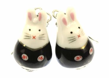 Rabbit Bunny Earrings Miniblings Bunny Rabbit Easter Bunny Porcelain Ceramic – Bild 1