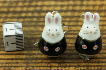 Rabbit Bunny Earrings Miniblings Bunny Rabbit Easter Bunny Porcelain Ceramic – Bild 2