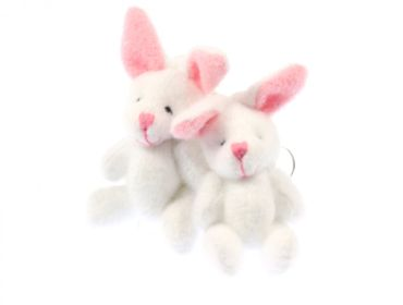Rabbit Bunny Earrings Miniblings Bunny Bunny Rabbit Plush White – Bild 2