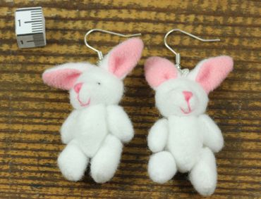 Rabbit Bunny Earrings Miniblings Bunny Bunny Rabbit Plush White – Bild 4