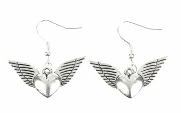 Heart With Wings Earrings Miniblings Heart Love Valentine'S Day Silver – Bild 1