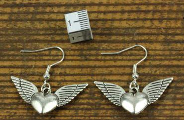 Heart With Wings Earrings Miniblings Heart Love Valentine'S Day Silver – Bild 2