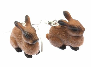 Rabbit Earrings Earrings Miniblings Easter Bunny Brown Rubber – Bild 1