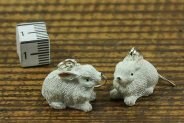Rabbit Earrings Miniblings Easter Bunny Sitting White – Bild 3
