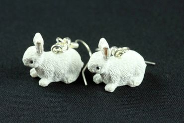 Rabbit Earrings Miniblings Easter Bunny Sitting White – Bild 6