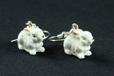 Rabbit Earrings Miniblings Easter Bunny Sitting White – Bild 8