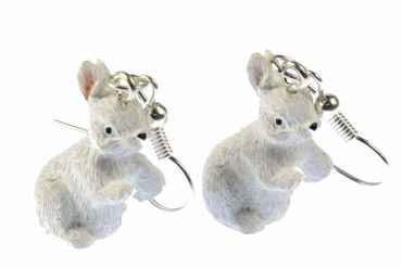 Rabbit Earrings Miniblings Easter Bunny Standing White – Bild 2