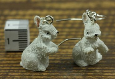 Rabbit Earrings Miniblings Easter Bunny Standing White – Bild 3