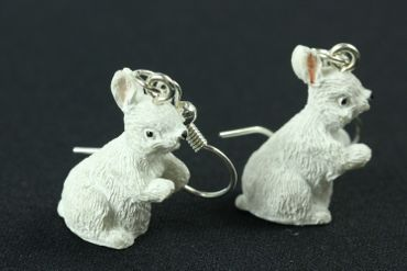 Rabbit Earrings Miniblings Easter Bunny Standing White – Bild 1