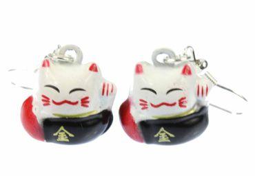 Katze Ohrringe Winkekatze Glückskatze Miniblings Maneki-neko Metall schwarz