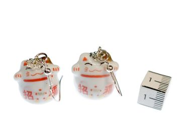 Cat Earrings Lucky Cat Maneki-Neko Miniblings White Red Porcelain Ceramic – Bild 2