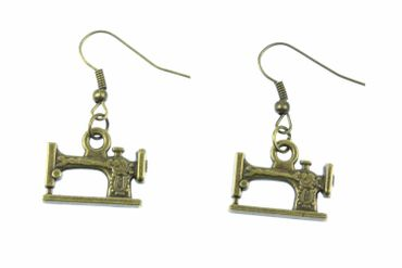 Sewing Machine Earrings Miniblings Taylor Sewing Fashion Design Dressmaker Bronze