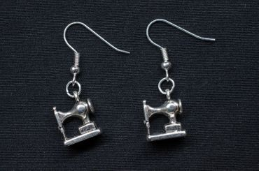 Sewing Machine Earrings Miniblings Taylor Sewing Fashion Seamstress Silver Mini – Bild 3