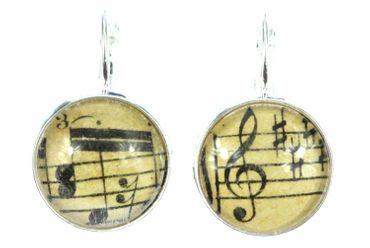 Notes And Treble Clef Earrings Cabochon Miniblings Beethoven 17mm Music – Bild 3