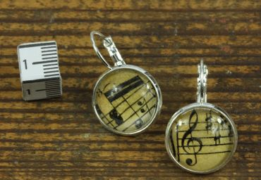 Notes And Treble Clef Earrings Cabochon Miniblings Beethoven 17mm Music – Bild 4