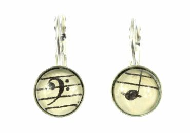Notes And Treble Clef Earrings Cabochon Miniblings Beethoven 12mm Music – Bild 1