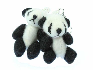 Panda Earrings Miniblings Panda Bamboo Zoo Bear 3D Plush – Bild 1