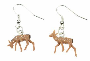 Roe Deer Earrings Rehohrringe Miniblings Bambi Kitz Deer Forest Brown Dots – Bild 1
