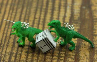 Tyrannosaurus Rex Ohrringe Dinos Dinosaurier Miniblings T-Rex Dino Gummi grün – Bild 2