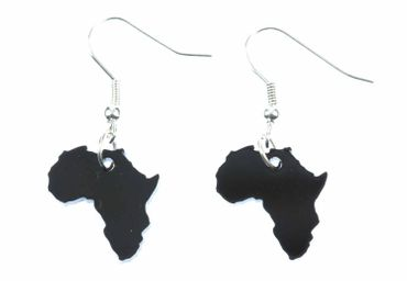 Africa Earrings Miniblings Africa Continent Country Travel Acrylic Black Ragga Reaggae