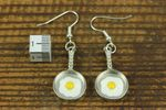 Frying Pan Fried Egg Earrings Miniblings Kitchen Chef Cooking Eggs Silver