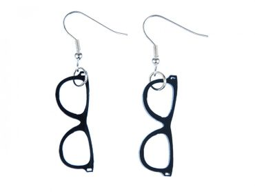Glasses Earrings Miniblings Glasses Hipster Nerd Horn-Rimmed Glasses Acrylic Black – Bild 1