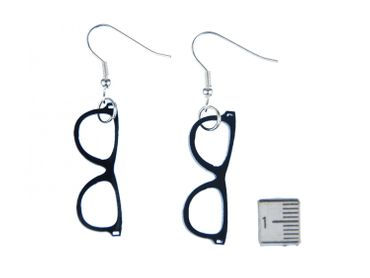 Glasses Earrings Miniblings Glasses Hipster Nerd Horn-Rimmed Glasses Acrylic Black – Bild 2