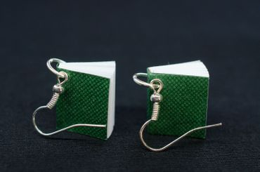 Book Earrings Miniblings Books Book Earrings Bookworm Pages Book Green – Bild 5