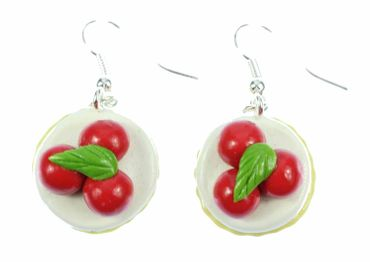 Cupcake Cherry Pie Earrings Miniblings Pie Tart Cherries Around 3D – Bild 3