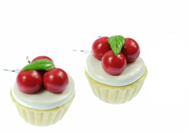 Cupcake Cherry Pie Earrings Miniblings Pie Tart Cherries Around 3D – Bild 1