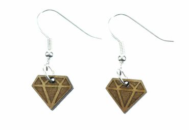 Diamant Ohrringe Miniblings Hänger Brillant Edelstein Rubin braun Holz