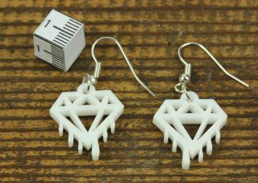 Diamant schmilzt Ohrringe Hänger Miniblings Brillant Edelstein Acrylglas weiß – Bild 3