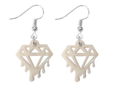 Diamant schmilzt Ohrringe Hänger Miniblings Brillant Edelstein Acrylglas weiß – Bild 1