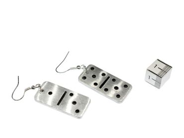 Domino Dominoes Earrings Miniblings Play Dominoes Silver Aluminum – Bild 3