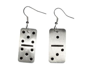 Domino Dominoes Earrings Miniblings Play Dominoes Silver Aluminum – Bild 1