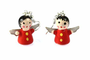 Engel Ohrringe Hänger Miniblings Weihnachten Holzengel bemalt Engelohrringe rot – Bild 1