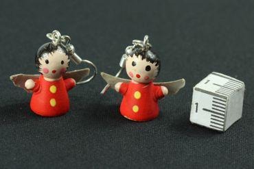 Engel Ohrringe Hänger Miniblings Weihnachten Holzengel bemalt Engelohrringe rot – Bild 3